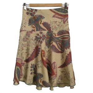 MORGAN Beige Paisley Swirl Skirt, size Small